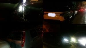 Park halindeki 5 araca çarpıp aracını olay yerinde bırakıp kaçtı!