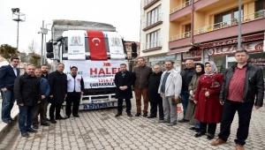 Çan belediyesinden Halep'e uzanan yardım eli yola çıktı