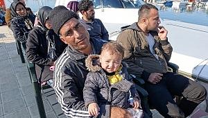 Yunanistan'ın Midilli adasına lastik bot ile kaçmak isteyen 39 mülteci yakalandı.