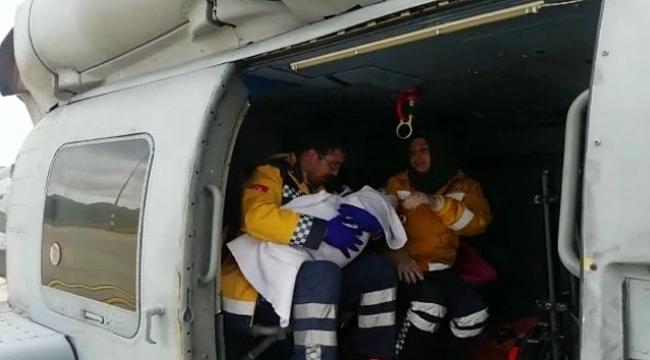 7 aylık bebek askeri helikopterle hastaneye nakledildi