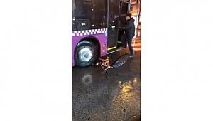 Trafikte kendisiyle tartışan bisikletlinin bisikletini ezdi