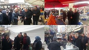Ezine CHP Belediye Başkan adayı Halil BÜYÜKEROL pazar esnafını ziyaret etti