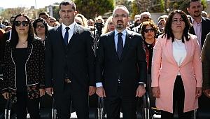 Çanakkale'nin Bozcaada ilçesinde AK Parti seçim bürosu açıldı.