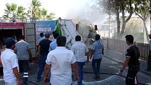 Atık toplama kamyonunda çıkan yangın korkuttu