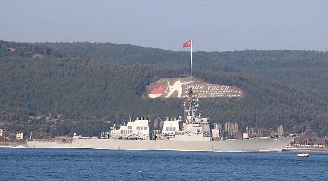 ABD askeri gemisi Çanakkale Boğazı'ndan geçti