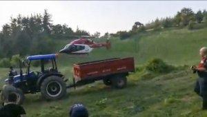Ambulans helikopter traktör kazasında yaralanan genç için havalandı