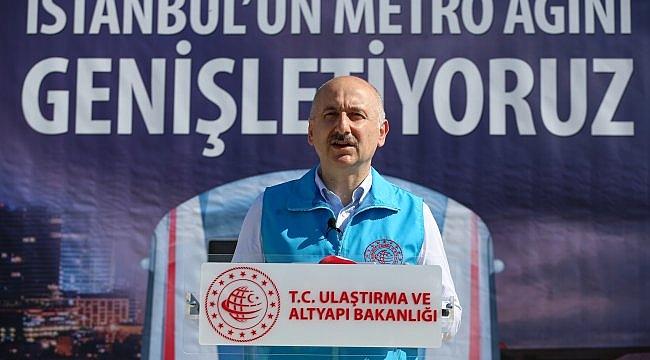"""Ulaştırma ve Altyapı Bakanı Adil Karaismailoğlu : """"Yapımı devam eden projeler bittiğinde İstanbul'da 324 kilometreye ulaşacak bir metro ağı olacak"""""""