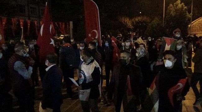 Çanakkale'de İsrail'in Mescid-i Aksa saldırıları protesto edildi