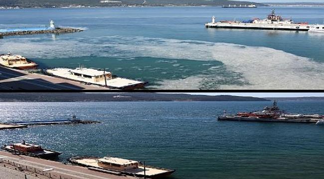 Çanakkale'de kuvvetli rüzgar deniz salyasını dağıttı