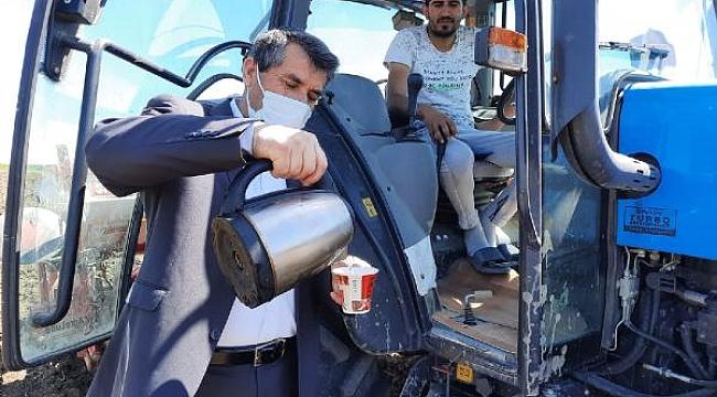 Muhtar, 'Çiftçiler Günü'nde tarlada çalışanlara kahve ikram edip, günlerini kutladı